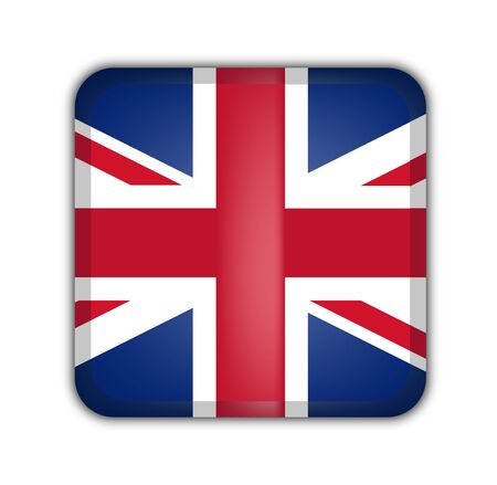 picto: flag of united kingdom, square button on white background