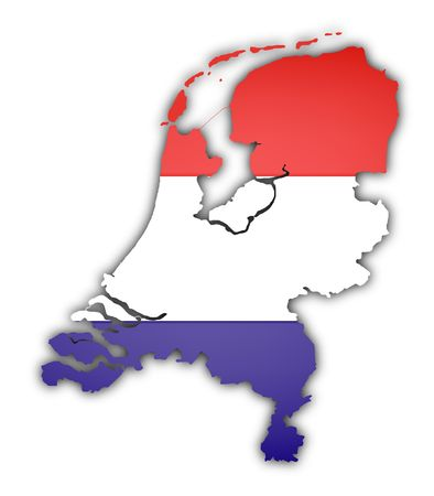 flag and map of netherlands on white background photo