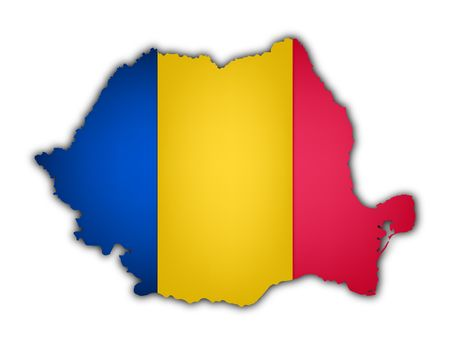 bandera y el mapa de Rumania sobre fondo blanco