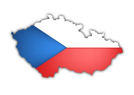 picto: map and flag of czech republic on white background