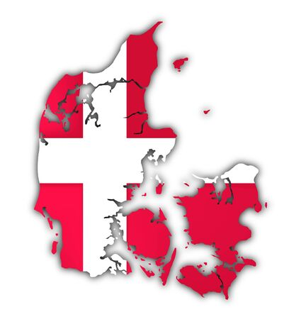 picto: map and flag of denmark on white background