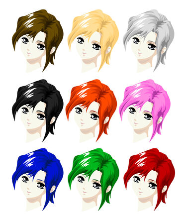 anime young: head girl style manga with red, green, blue, black , white, orange, blond, or brown hair
