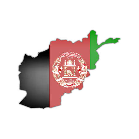 balck and white: map and flag of afghanistan with black shadow on white background
