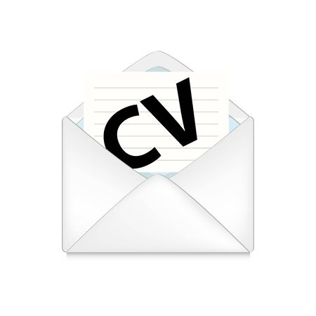 cv: opened envelope with cv on white background