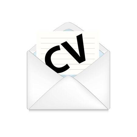 cv: sobre abierto con el cv en el fondo blanco Foto de archivo