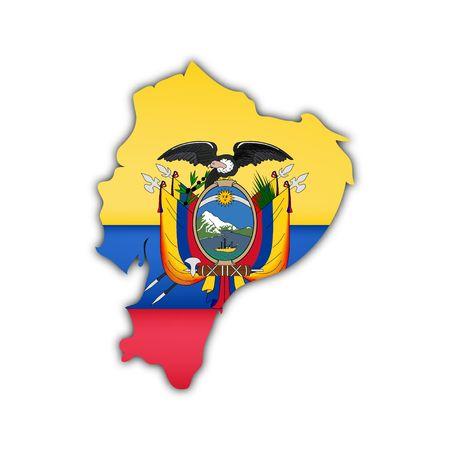 ecuador: map and flag of ecuador with shadow on white background