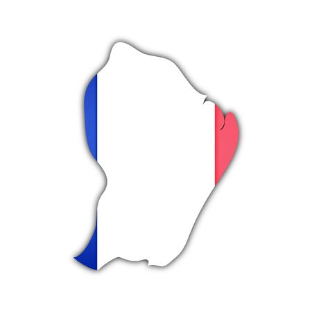 guyana: map and flag of french guyana with shadow on white background