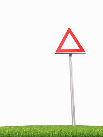 trip hazard sign: 3d rendered of empty road panel with grass