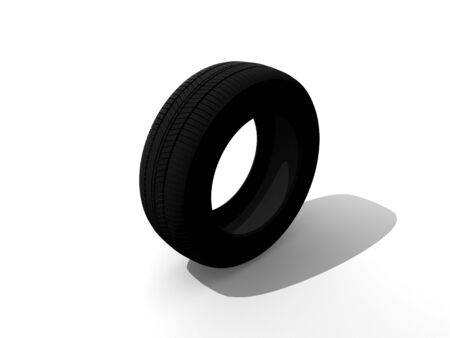 3d rendered of black tire on white background photo