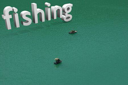 small boats with typographic incrustation of fishing photo
