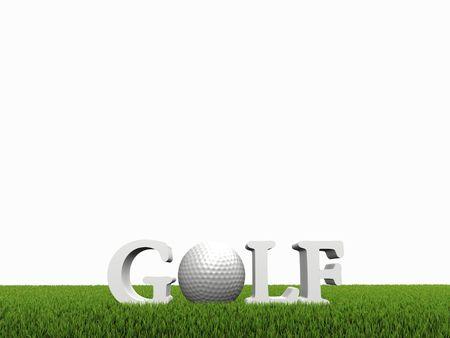 comp�titivit�: concept de golf sur vert gras sur fond blanc  Banque d'images