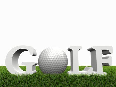 competitividad: concepto de golf en gras verde sobre fondo blanco
