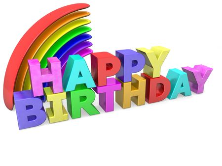 happy birthday with colored letters and rainbow