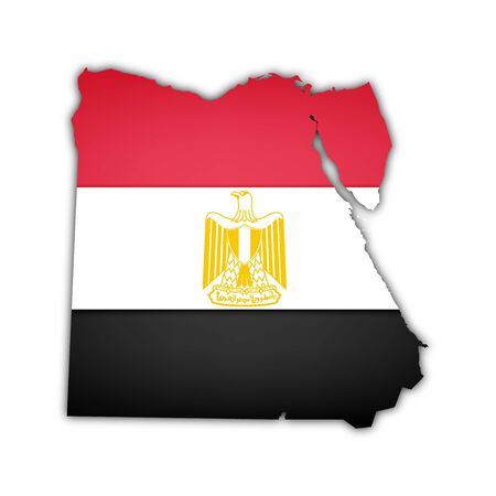 egypt flag: map of egypt with flag and shadow