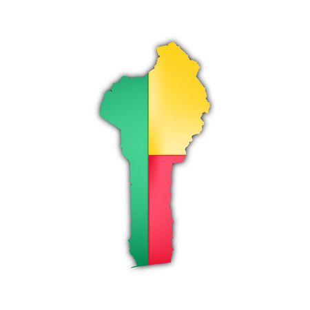 benin: map and flag of benin with shadow Stock Photo