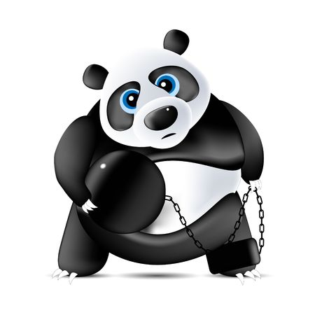 panda with ball and chain