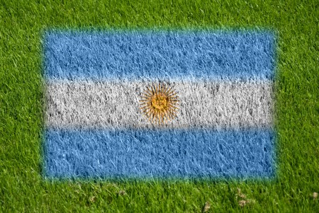 flag of argentina on grass with spray photo