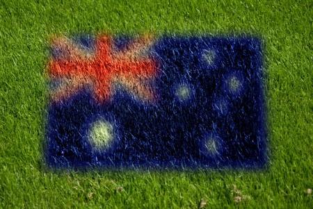 fairplay: flag of australia on grass with spray
