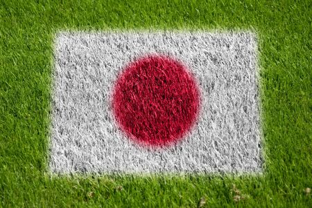 fairplay: flag of japan on grass with spray Stock Photo