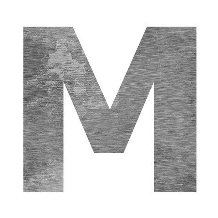 m letter capital texturing metal photo