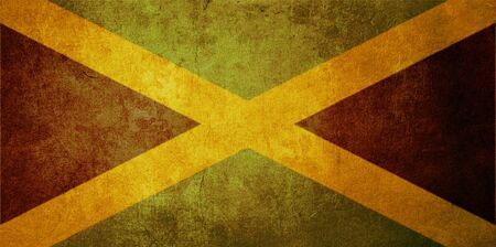 jamaica: jamaica flag with old texture grunge and vintage Stock Photo