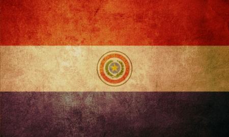 Paraguay flag: Bandera de Paraguay con antiguos textura grunge y vintage