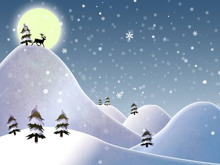 christmas landscape and reindeer on a moon photo