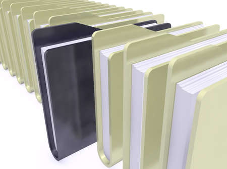 administer: yellows folders and one black on white background Stock Photo