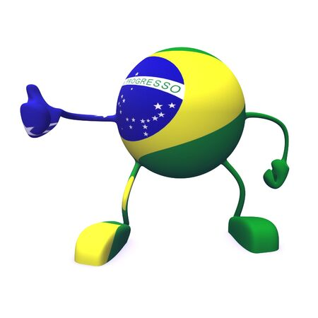 yes and  brazil flag on character on white background photo