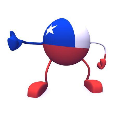 bandera de chile: s� y la bandera de chile en car�cter sobre fondo blanco