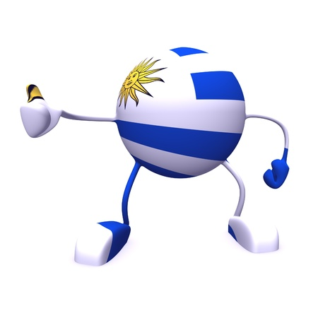 yes and  uruguay flag on character on white background photo
