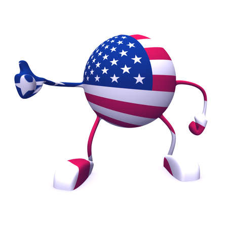 yes and  usa flag on character on white background photo