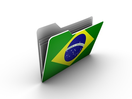 semiquaver: folder icon with flag of brazil on white background