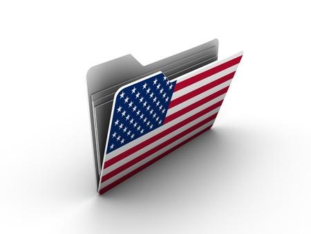 bandera honduras: icono de carpeta con bandera de Estados Unidos sobre fondo blanco