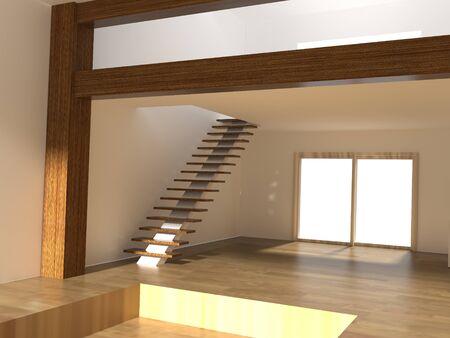 Rendu 3D d'un salon avec escalier
