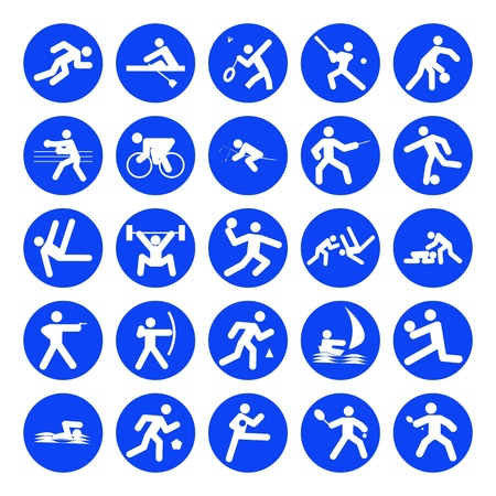 pentathlon: logos of sports, sports competitions games, blue on white background