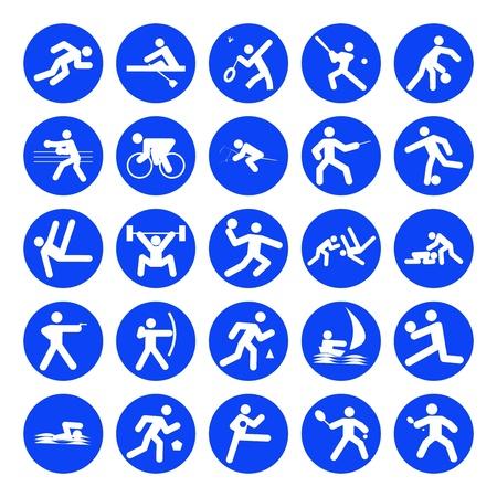 pirag�ismo: logotipos de deportes, los Juegos Ol�mpicos, azul sobre fondo blanco Vectores