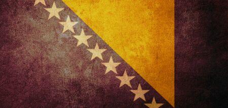 bosnia and herzegovina flag: bosnia herzegovina flag with old texture grunge and vintage