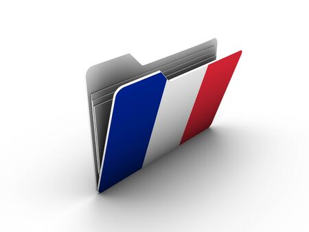 folder icon with flag of france on white background Stock Photo - 13293392