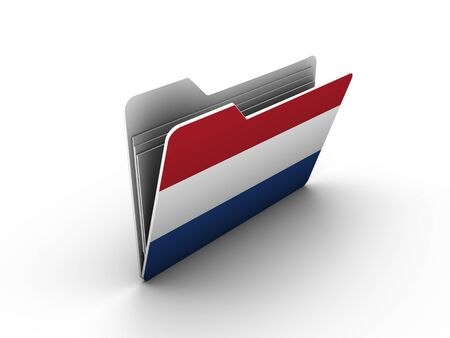 folder icon with flag of netherlands on white background photo