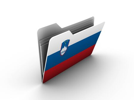 folder icon with flag of slovenia on white background Stock Photo - 13293424