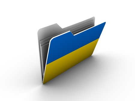 folder icon with flag of ukraine on white background Stock Photo - 13293419