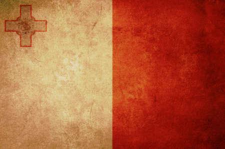 malta flag: malta flag with old texture grunge and vintage
