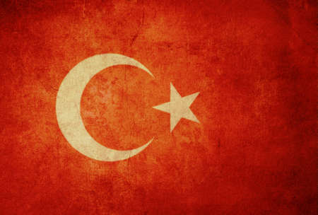 turkey flag with old texture grunge and vintage photo