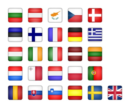 europeans: set of EU flag icon, square button on white background