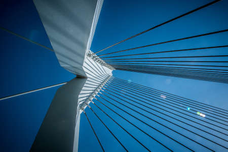 shroud: Shroud bridge in Rotterdam with blue sky Stock Photo