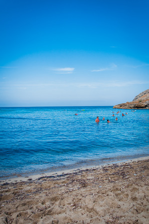 Sea and blue sky and sandy beach in Mallorca Stock Photo