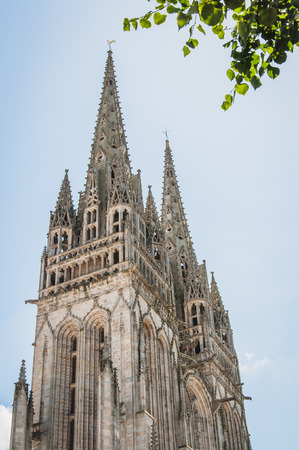 Gothic cathedral of Quimper in Finistère in Brittany Foto de archivo