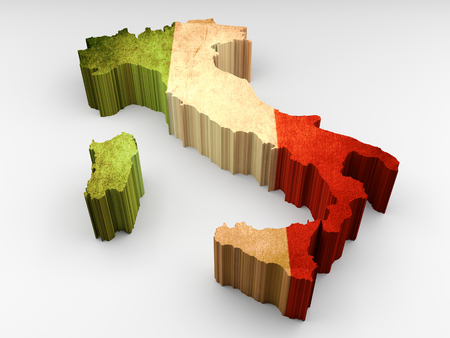 Italy textured 3d map with an italian flag on a white background