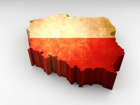 3d textured Poland map with a polish flag on a white background